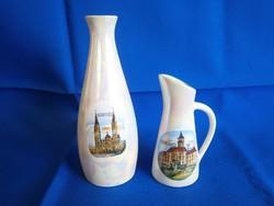 Nagyon ritka Unterweisbach / Unter Weis Bach porcelán kancsó és váza Szeged emlék Irizáló festés