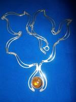 Art deco, különleges szemekből, álló, borostyán köves jelzett, ezüst nyaklánc!