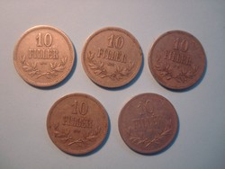 5 db. 1916 - os 10 fillér