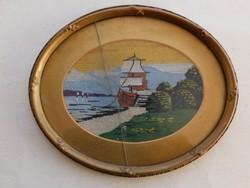 Gobelin, vitorlás hajó, szép hibátlan keret