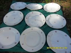 9 db Zsolnay és Drasche virágmintás tányér