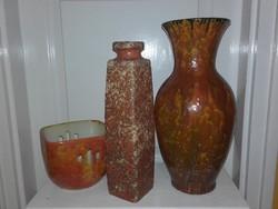 Karda Imre állóváza 35 cm, keskeny váza 31 cm, kaspó 12 cm; jelzett,
