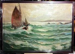 A háborgó tenger - szignált csodálatos olajfestmény, új keretben ( 74 x 54 )