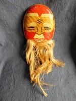 Kézzel készített, szövött bambusz életnagyságú  ázsiai maszk, hibátlan  24 x 18 + 28 cm szakáll