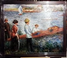 Csónakra várva - Gyönyörű olajfestmény ( keretezett méret 65 x 55 )