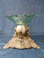 Bronz nagyméretű asztalközép.Márvány díszítéssel.c1900.