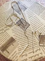 Modern letisztult ezüst fülbevaló+nyaklánc szett