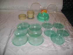 Retro összecsukható citromcsavarós pohár és poháralátét szett