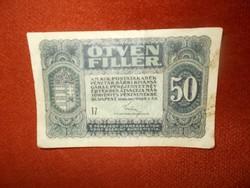 50 fillér papírpénz 1920