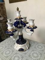 Nagy álomszép porcelán 5 ágú gyertyatartó kobalt kék dúsan aranyozott.