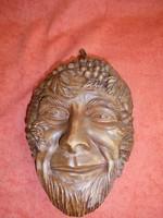 Szignált terrakotta Bachus fej falidísz