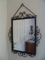 Antik kovácsoltvas keretes vintage stílusú tükör 55x40 cm