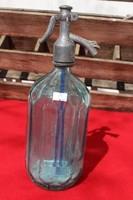 Szögletes szódásüveg kék színes 1 literes
