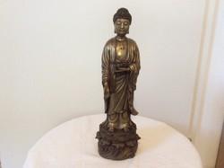 Álló réz buddha szobor , szvasztika diszítéssel
