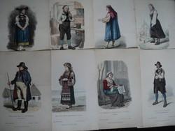 1880 körüli  divat viselettörténet színes metszet 28 darab