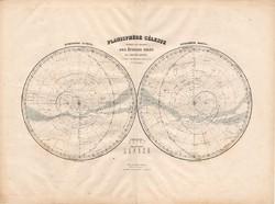 Északi és Déli csillagos ég térkép 1880, francia, atlasz, eredeti, 34 x 47 cm, csillagászat, égbolt