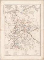 Német Szövetség térkép 1846, francia, atlasz, eredeti, 32 x 45 cm, Dussieux, politikai, régi, Európa