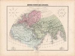 Antik világ térképe, készült 1880, francia, atlasz, eredeti, 34 x 46 cm, világtérkép, térkép, régi