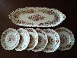 Különleges japán mintájú barokk formájú dúsan festett Zsolnay szendvicses/süteményes készlet