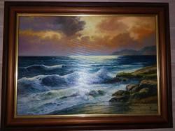 Temesvári Ferenc háborgó tenger festmény