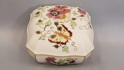 Gyönyörű szép Zsolnay pillangó és virág mintás kézi festésű ékszertartó bonbonier