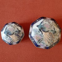 Japán, keleti, ázsiai,porcelán doboz, bonbonier, gyűrűtartó, madár díszítéssel (2 db)