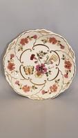 Gyönyörű szép Zsolnay pillangó és virág mintás kézi festésű falitányér