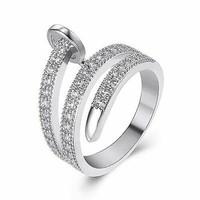 Cartier Juste un Clou replika, 18K WGF gyűrű, fehér CZ kristályokkal