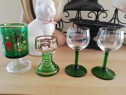 Régi zöld üveg poharak