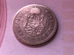 1891 ezüst 1 forint ritkább Fiume címer,