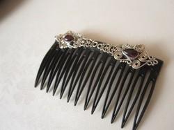 Filigrán gránát hajbavaló ezüst 925