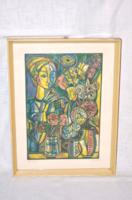 Józsa János: virágok ( linómetszet )