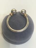 Gyönyörű ezüst díszes kulcstartó aranyozott diszitessel