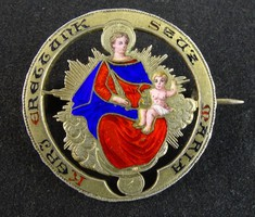 0W246 Antik zománcozott ezüst vallási kitűző