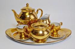 Csupa arany baba porcelán 2 személyes teáskészlet , mini teáskészlet
