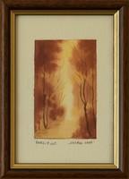 Barsi Ferenc - Ártéri erdő, mini akvarell. Nagyszerű ajándék ötlet!