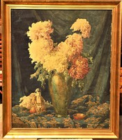 95x81 cm !! Komáromi-Kacz Endréné (1883 - 1954) Csendélet c. festménye EREDETI GARANCIÁVAL !!