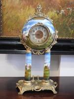 Barokk kandalló óra - Bécsi műhely! Hibátlan, festett oszlopos! 1860 - 1880