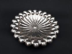 Gyönyörű spiáter asztalközép - gyümölcsöstál - ezüst utánzat