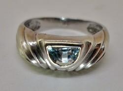 Szépséges antik akvamarin köves ezüst gyűrű