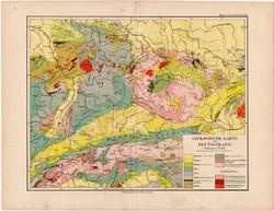 Németország geológiai térkép 1892, eredeti, német nyelvű, régi, Meyers atlasz, Európa, geológia