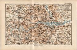 London és környéke térkép 1892, eredeti, német nyelvű, régi, Meyers atlasz, Anglia, Nagy - Britannia