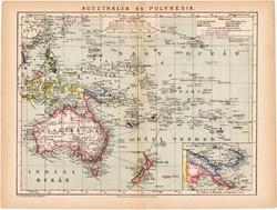 Ausztrália és Polynésia térkép 1892, eredeti, antik, régi, Athenaeum, Brockhaus, XIX. század