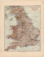 Anglia és Wales térkép 1892, eredeti, német nyelvű, régi, Meyers atlasz, Európa, észak