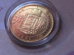 1885 arany 8 forint 6,45 gramm 0,900 gyönyörű darab