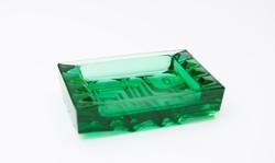 Vladislav Urban zöld üveg hamutartó - cseh retro üveg dísztárgy