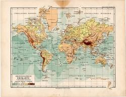 Világtérkép Mercator projekciójában, térkép 1892, eredeti, régi, Meyers atlasz, német nyelvű, világ
