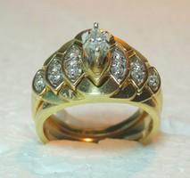 14 Karátos Sárga Arany 0.33 Karátos Bordázott Gyémánt Menyasszonyi Készlet