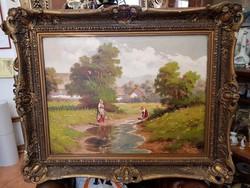 Szignált eredeti Barsi Béla - Vizet merítő nők című festmény olaj, vászon 60 x 80 cm