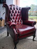Eredeti Chesterfield Queen Anne füles bőr fotel